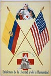 Red Cross nurses flags of Ecuador and the United States wwi post