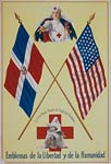 Red Cross nurses - flags of the Dominican Republic / United Stat