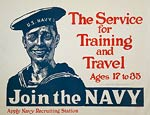 Join the Navy for training and travel WWI Poster