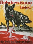 Wolf by pool of blood - man drowning German WWI Poster
