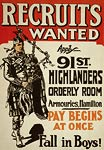 Canadian Army World War I Poster - soldier bagpipes