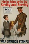 Soldier with childrenn World War 1 Poster