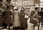 Taking home baskets, Salvation Army Christmas NY 1908